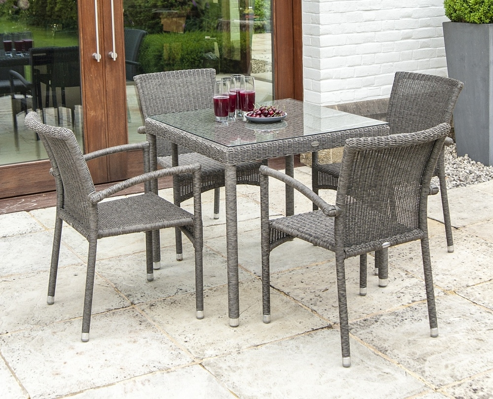 Alexander Rose Monte Carlo 80cm Square Dining Table with Glass