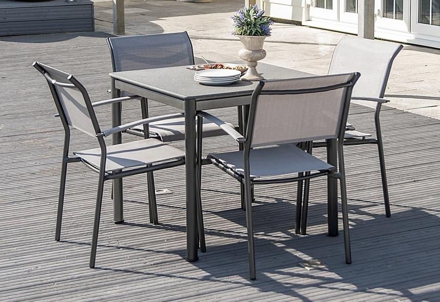 Alexander Rose Portofino Stone Top 80cm Square Dining Table