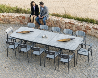 Alexander Rose Rimini 232.5cm-300cm Extending Dining Table with Ceramic Glass
