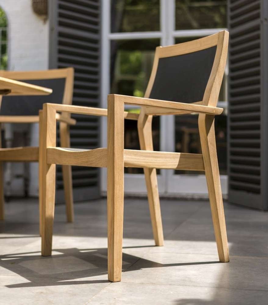 Alexander Rose Roble Stacking Armchair with Charcoal Sling