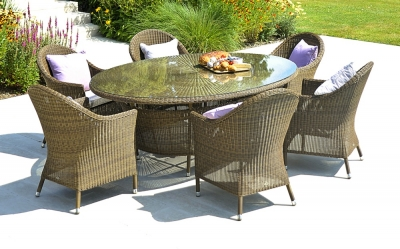 Alexander Rose San Marino 200cm Oval Dining Table and 6 Armchair