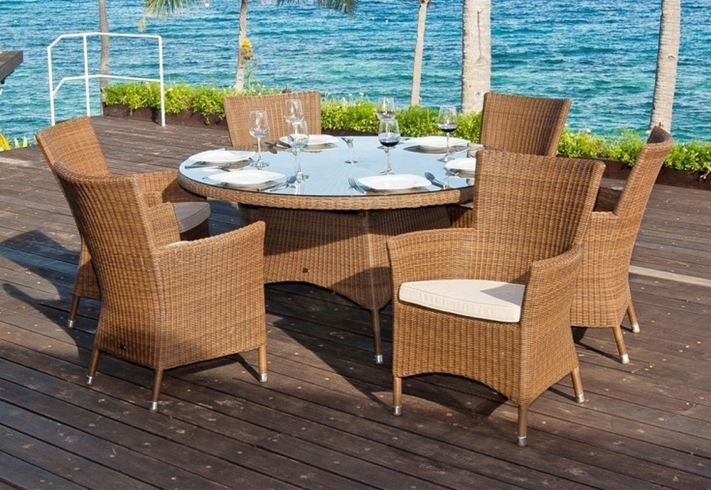 Alexander Rose San Marino 150cm Round Dining Table with Glass