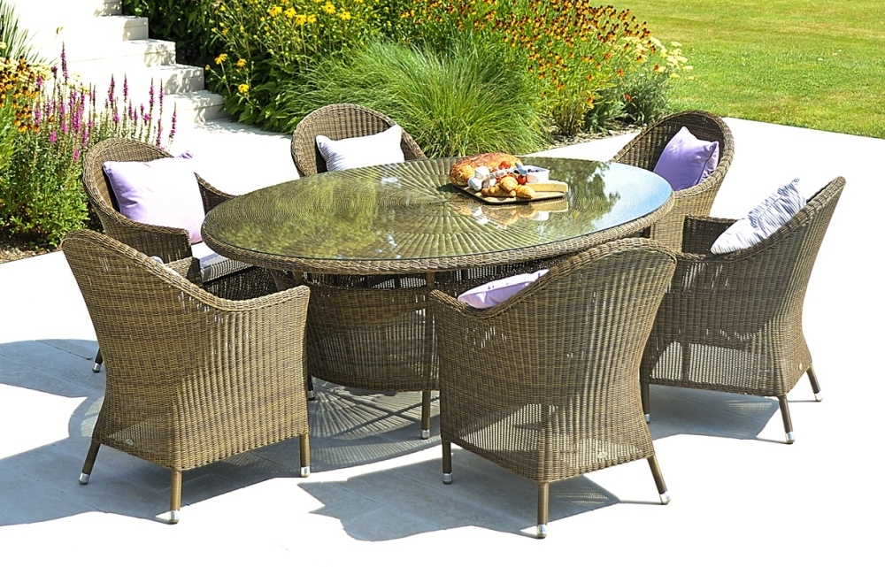 Alexander Rose San Marino 200cm Oval Dining Table with Glass