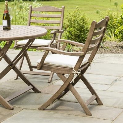 Alexander Rose Sherwood Carver Folding Dining Chair (Pair)