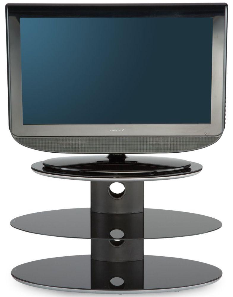 Alphason Gradino Black Titanium Pedestal TV Stand - GRA3-800-T-B