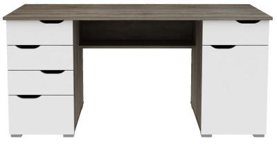 Alphason Kentucky Dark Oak and White High Gloss Computer Desk - AW1374DO
