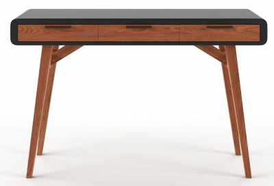 Alphason Pevensey Black High Gloss and Oak Writing Desk - AW3150