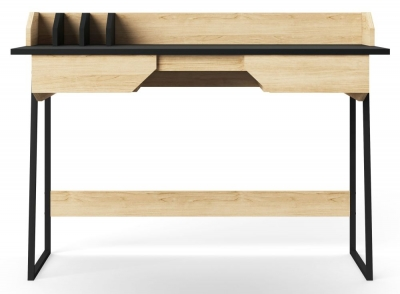 Alphason Salisbury Oak and Black Writing Desk - AW3100