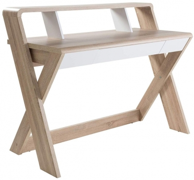 Alphason Aspen Light Oak Trestle Desk - AW2110