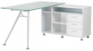 Alphason Augusta White Glass Corner Desk - AW13366A-CL
