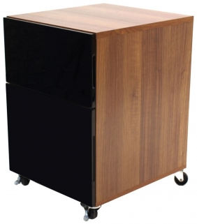 Alphason Juo Pedestal Desk - Black and Walnut ALT63222-P-W
