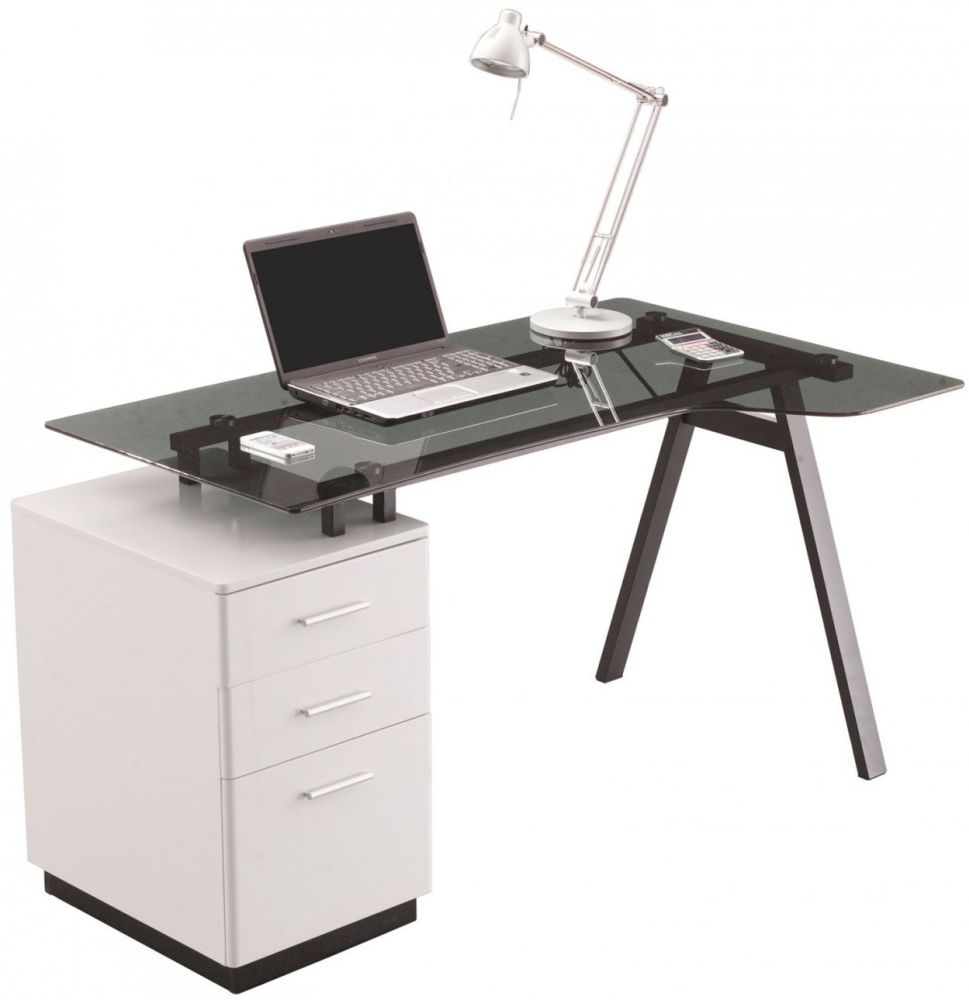 Alphason Cleveland 4 White and Grey Glass Desk AW23377-GY