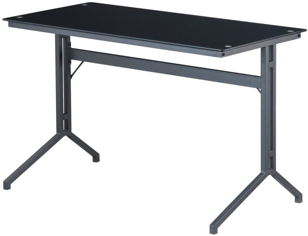 Alphason Splice Charcoal Smoked Glass Desk AW53360