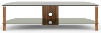 Alphason Century Walnut and Black Glass TV Cabinet 58inch - ADCE1500-BLK