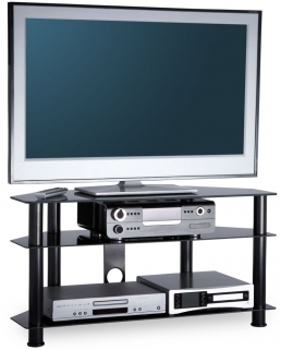 Alphason Essential Black TV Unit - ESS1000-3-BLK