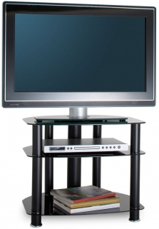 Alphason Sona Black Glass TV Unit - AVCR26-3-BLK