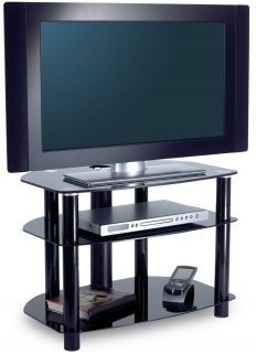 Alphason Sona Black Glass TV Unit - AVCR32-3-BLK