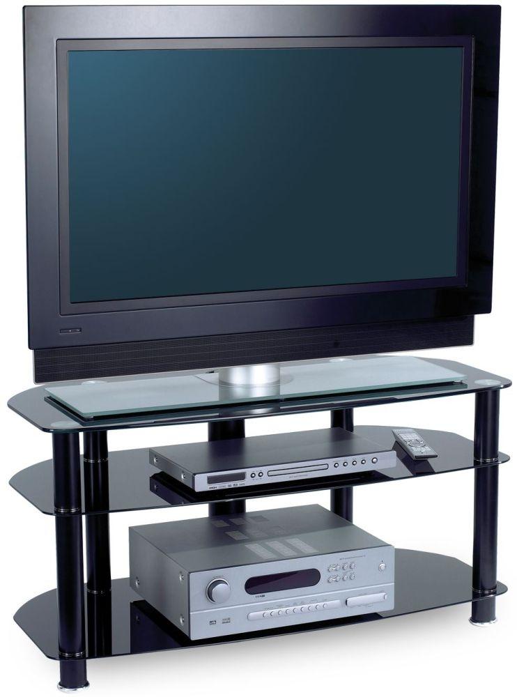 Alphason Sona Black Glass TV Unit AVCR42 3 BLK