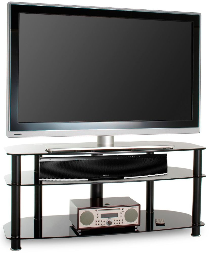 Alphason Sona Black Glass TV Unit - AVCR50-3-BLK