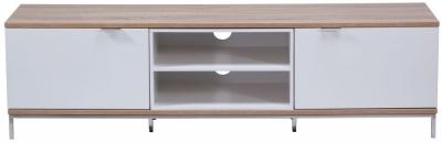 Alphason Chaplin White and Light Oak TV Cabinet 70inch - ADCH1600-WHT