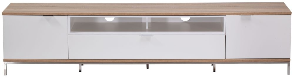 Alphason Chaplin White and Light Oak TV Cabinet 90inch - ADCH2000-WHT