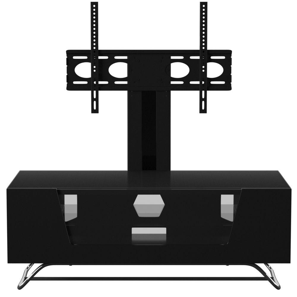 Alphason Chromium Black TV Cabinet with Bracket 55inch - CRO2-1200BKT-BK