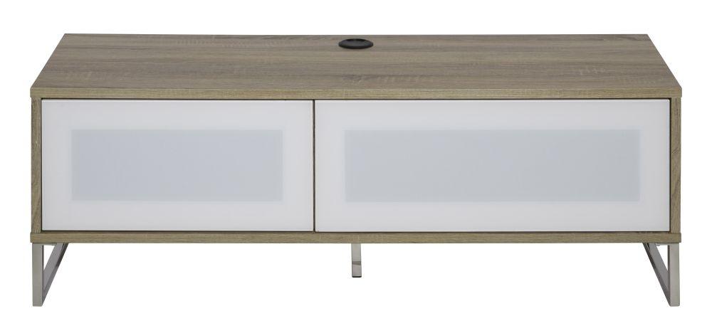 Alphason Helium White and Light Oak TV Cabinet 55inch - ADHE1200-LO