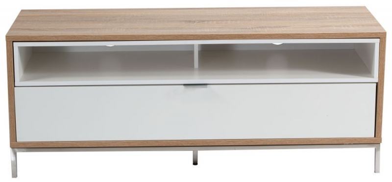 Alphason Chaplin White and Light Oak TV Cabinet 52inch - ADCH1135-WHT