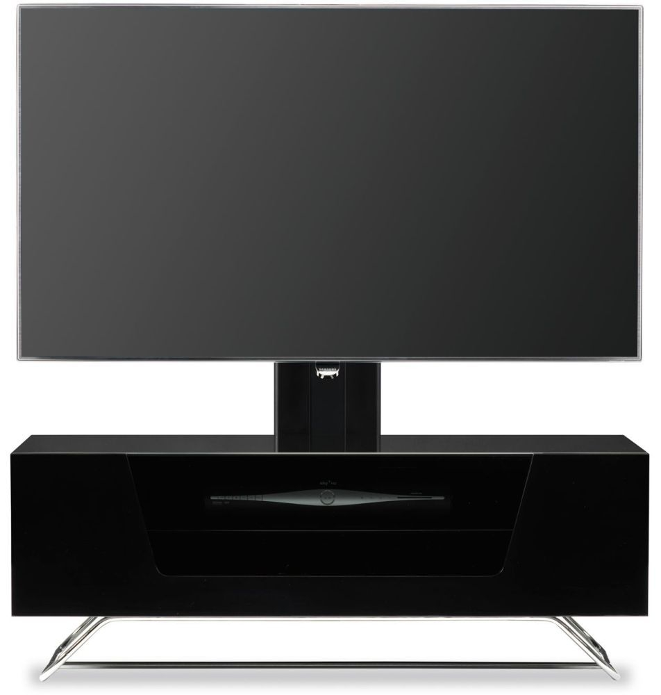 Alphason Chromium 2 Black Cantilever TV Cabinet for 50inch - CRO2-1000BKT-BK