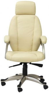 Alphason Bentley Cream Leather Faced Office Chair - AOC6355-L-CR