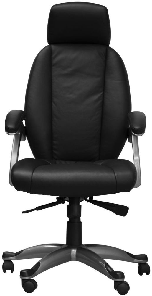 Alphason Bentley Black Leather Faced Office Chair AOC6355-L-BLK
