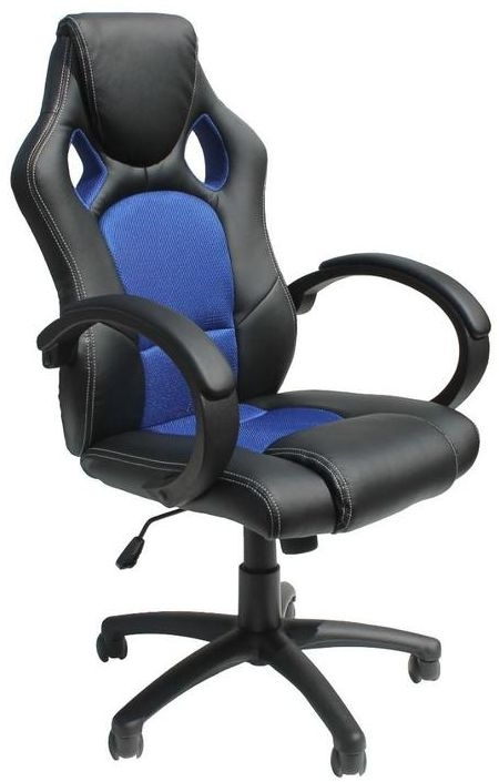 Alphason Daytona Faux Leather Office Chair - Black and Blue AOC5006BLU thumbnail