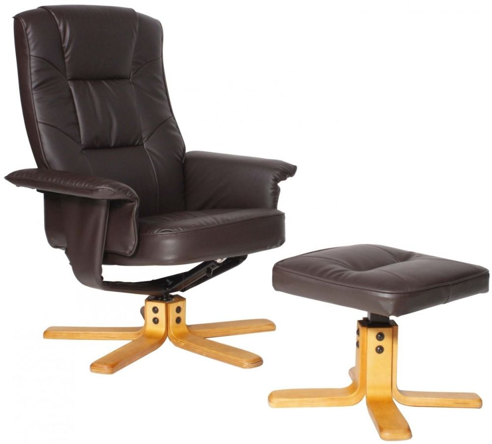 Alphason Drake Brown Recliner Chair with Footstool ARC7595-PU-BR