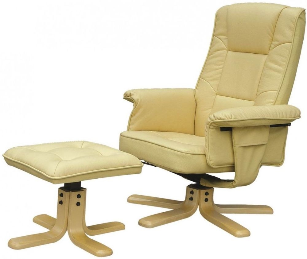 Alphason Drake Cream Recliner Chair with Footstool ARC7595-PU-CRM