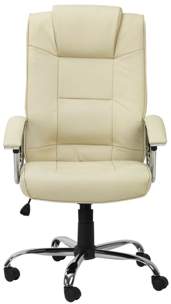 Alphason Houston Cream Leather Office Chair - AOC4201A-L-CM