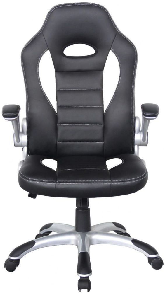 Alphason Talladega Faux Leather Office Chair - Black and White AOC8211WHI