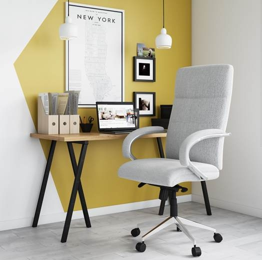 Alphason Bedford Light Grey Fabric Office Chair