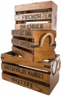 Ancient Mariner Set of 3 Vintage Boxes with Lettering