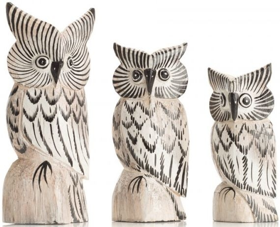Ancient Mariner Set of 3 Small Owls