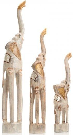 Ancient Mariner Set of 3 Whitewash Elephants