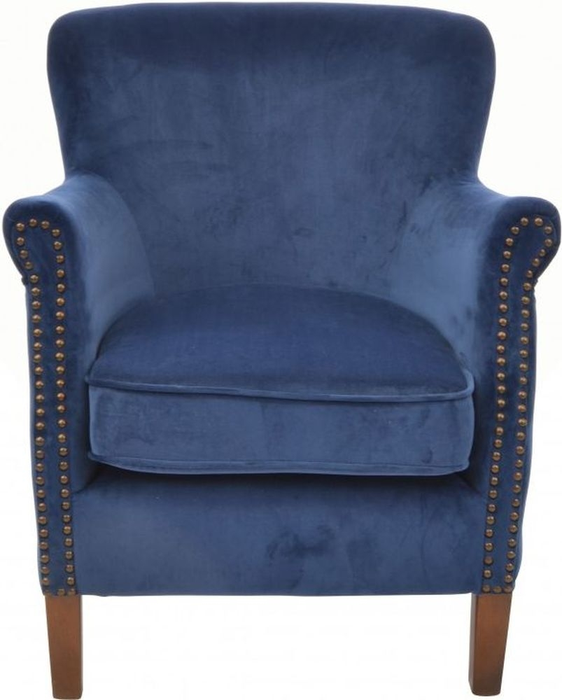 Ancient Mariner Navy Velvet Armchair thumbnail