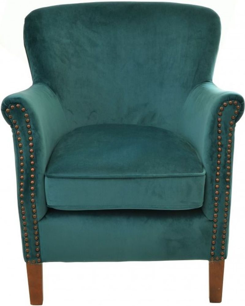 Ancient Mariner Teal Velvet Armchair