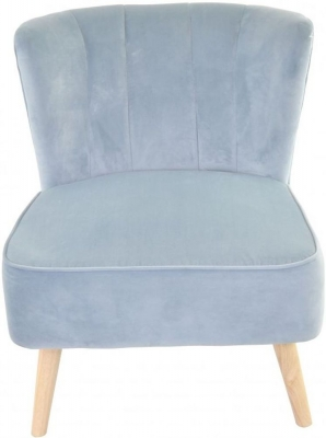 Ancient Mariner Cromarty Blue Velvet Ribbed Back Chair