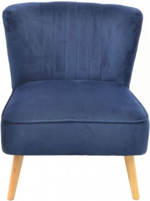 Ancient Mariner Cromarty Navy Velvet Ribbed Back Chair