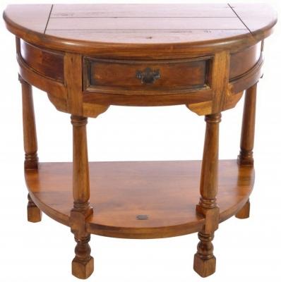 Ancient Mariner East Indies Dark Mango Wood Half Round Console Table