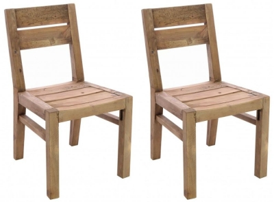 Ancient Mariner Fair Isle Reclaimed Pine Dining Chair (Pair)