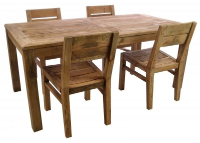 Ancient Mariner Fair Isle Reclaimed Pine Dining Table with 4 Chairs
