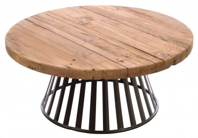 Ancient Mariner Fair Isle Reclaimed Pine Round Coffee Table with Metal Base