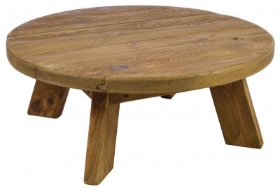 Ancient Mariner Fair Isle Reclaimed Pine Round Coffee Table