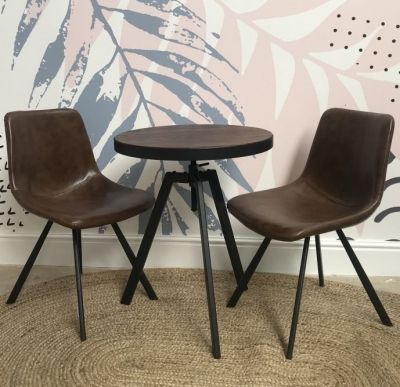 Ancient Mariner Fitzroy Adjustable Bistro Round Dining Table and Tan Faux Leather Chair